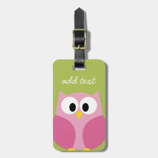 Cute Cartoon Owl - Pink and Lime Green Luggage Tag