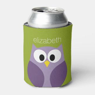 Cute Cartoon Owl Purple and Pistachio Custom Name Can Cooler