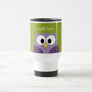 Cute Cartoon Owl Purple and Pistachio Custom Name Coffee Mugs