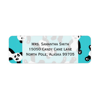 Cute Cartoon Panda Print - Blue Return Address Label