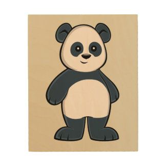 Cute Cartoon Panda Wood Wall Art