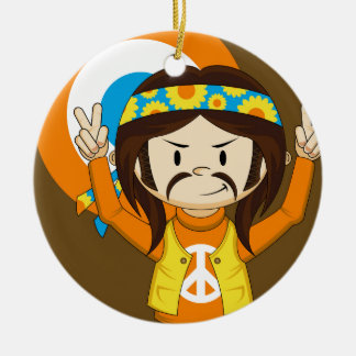 Cute Cartoon Peace Hippie Round Ceramic Decoration