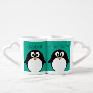 cute cartoon penguin emerald and black lovers mug sets