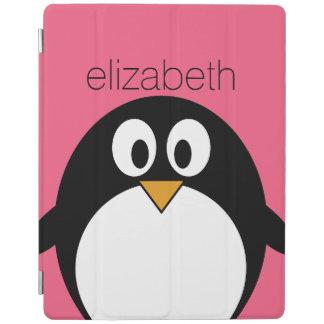 Cute Cartoon penguin Illustration Hot Pink Black iPad Smart Cover