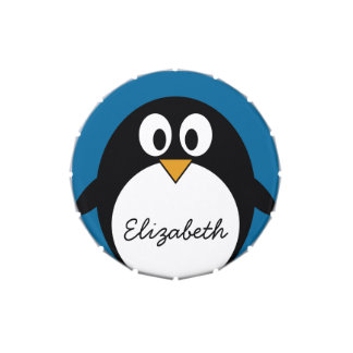 cute cartoon penguin with blue background jelly belly tin