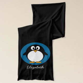 cute cartoon penguin with blue background scarf