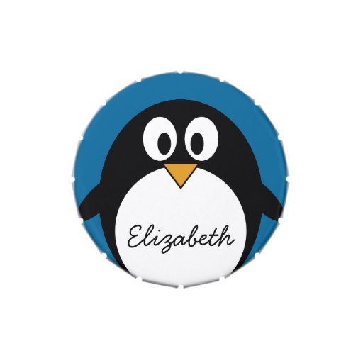 cute cartoon penguin with blue background candy tins