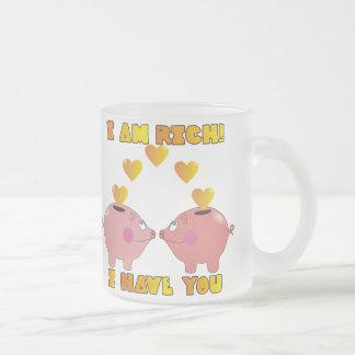 Cute Cartoon Piggybank in Love Coffe Mugs