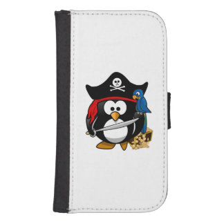 Cute Cartoon Pirate Penguin with Parrot Samsung S4 Wallet Case