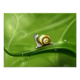 Cute Cartoon Snail In Rain Poster