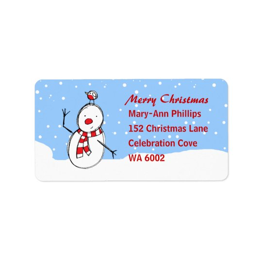 Cute Cartoon Snowman and robin Label