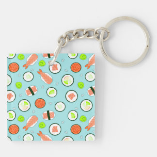 Cute Cartoon Sushi Pattern Blue Square Acrylic Key Chains