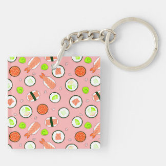 Cute Cartoon Sushi Pattern Pink Double-Sided Square Acrylic Key Ring