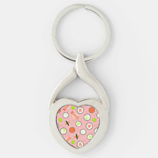 Cute Cartoon Sushi Pattern Pink Silver-Colored Twisted Heart Key Ring