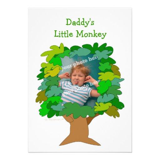 Cute Cartoon Tree Little Monkey Custom Photo Invitations