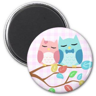 cute cartoon vector owl couple 6 cm round magnet