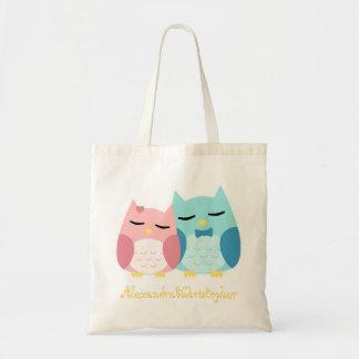 cute cartoon vector owl couple canvas bags