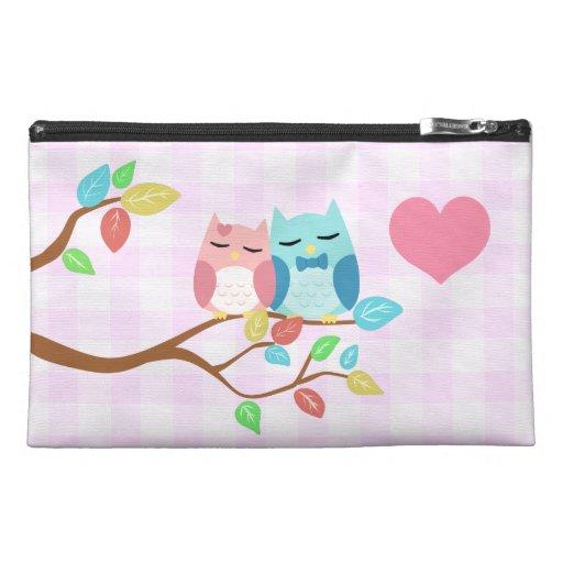 cute cartoon vector owl couple travel accessories bag