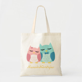 cute cartoon vector owl couple budget tote bag