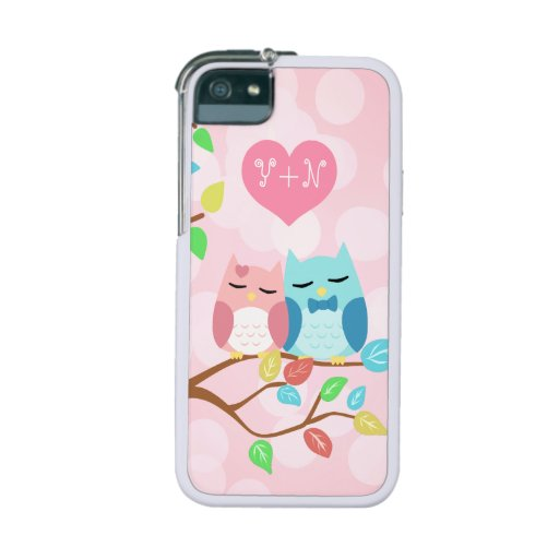 cute cartoon vector owl couple cover for iPhone 5/5S