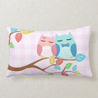 cute cartoon vector owl couple pillow
