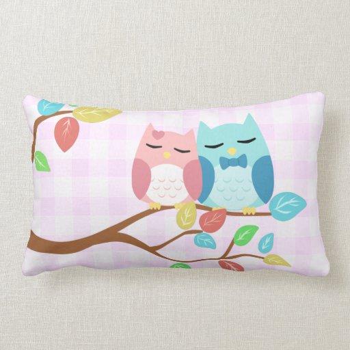 cute cartoon vector owl couple pillow