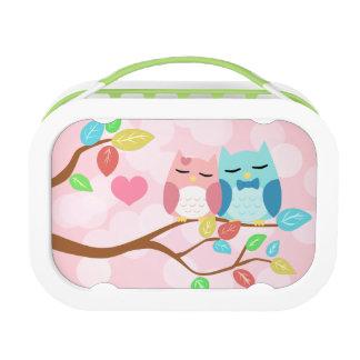 cute cartoon vector owl couple custom lunch box