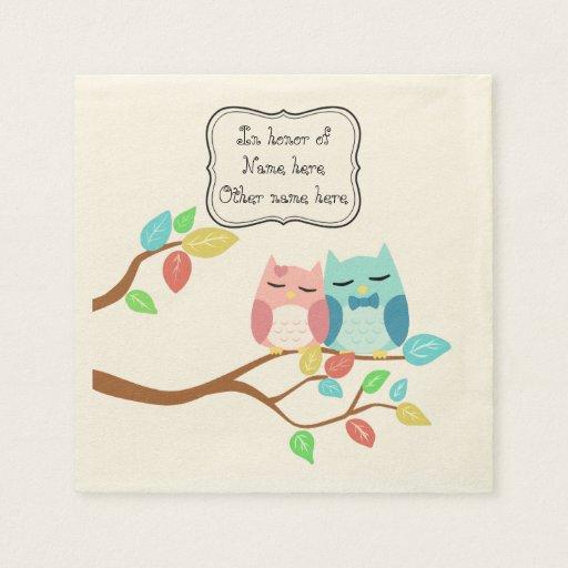 cute cartoon vector owl couple custom disposable napkin