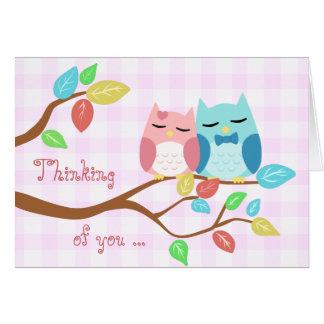 cute cartoon vector owl couple greeting card
