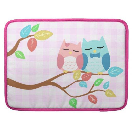 cute cartoon vector owl couple sleeve for MacBook pro