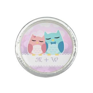 cute cartoon vector owl couple monogram photo rings