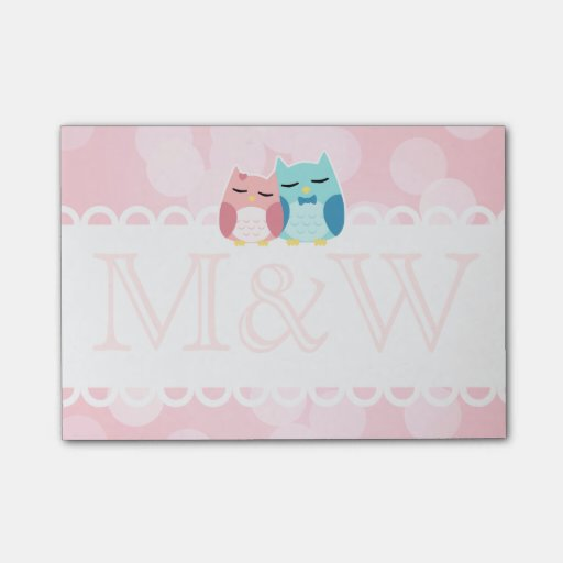 cute cartoon vector owl couple monogram post-it® notes