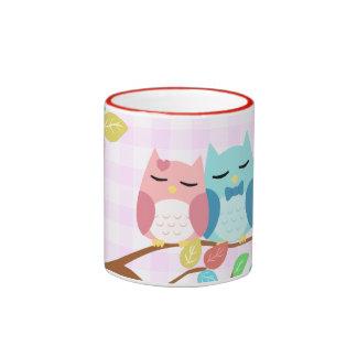 cute cartoon vector owl couple mugs