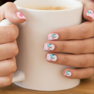 cute cartoon vector owl couple nails stickers