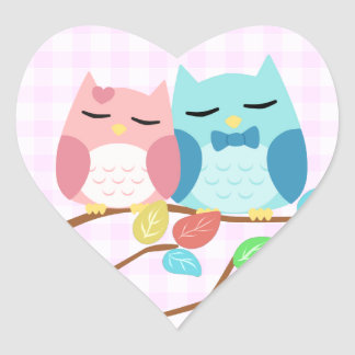 cute cartoon vector owl couple heart sticker