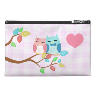 cute cartoon vector owl couple travel accessory bags