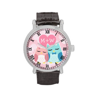 cute cartoon vector owl couple wrist watch