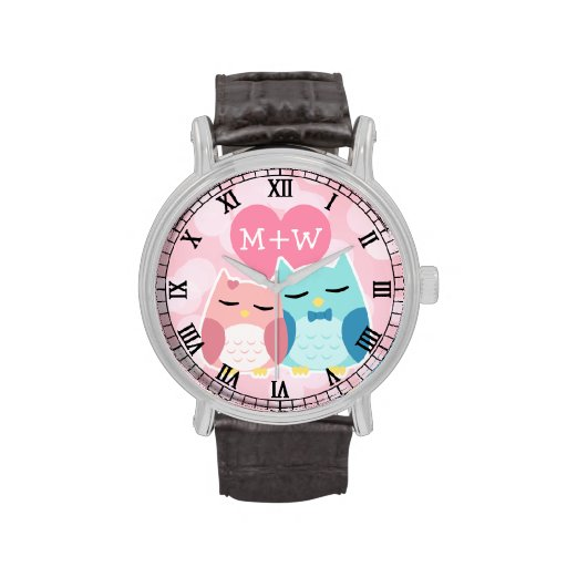 cute cartoon vector owl couple wrist watch