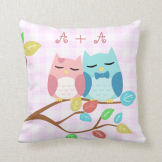 cute cartoon vector owl couple with initials throw pillows