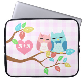 cute cartoon vector owl couple with initials laptop computer sleeves