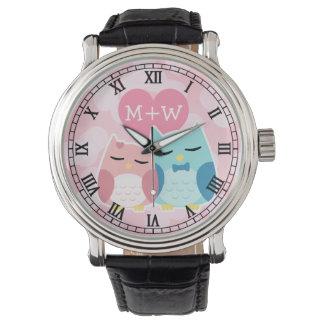 cute cartoon vector owl couple wristwatch