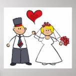 Cute Cartoon Wedding Couple Bride Groom Love Heart Posters