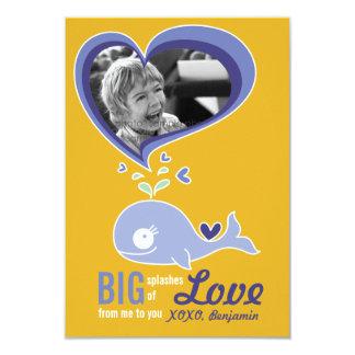 Cute Cartoon Whale Classroom Valentine Photo Custom Announcement