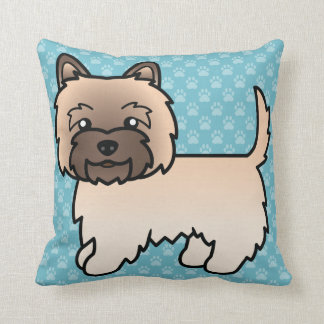 Cute Cartoon Wheaten Cairn Terrier Throw Pillow