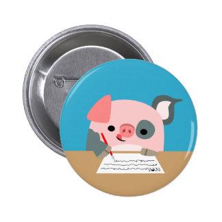 Cute Cartoon Writing Pig Women Button Badge