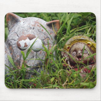 Cute Cat and Tanuki Statues in the grass Mousepad