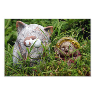 Cute Cat and Tanuki Statues in the grass Photo Print