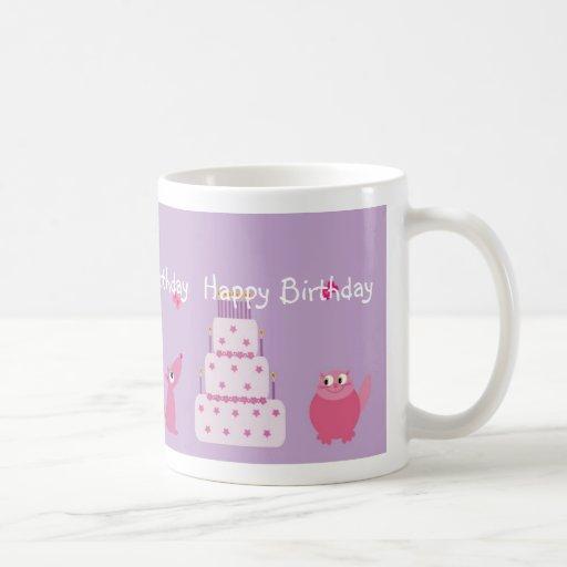 Cute cat & dog birthday mug