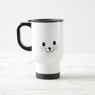Cute Cat Face. Stainless Steel Travel Mug