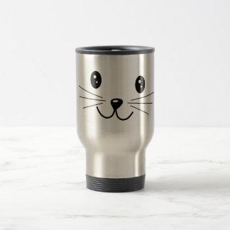Cute Cat Face. 15 Oz Stainless Steel Travel Mug
